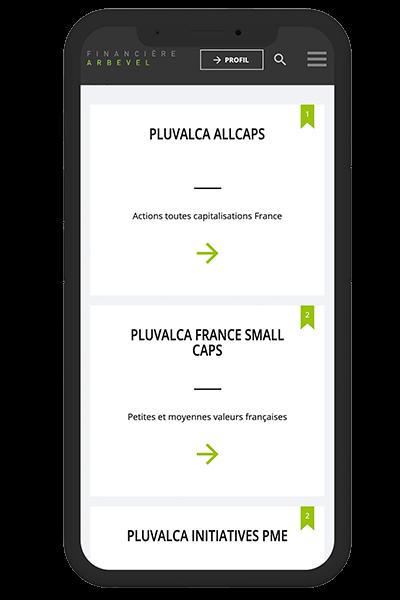 Mockup mobile Financière Arbevel - Pix Associates